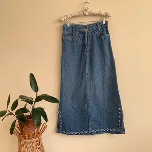 VIntage 90's Distressed Denim Midi Skirt